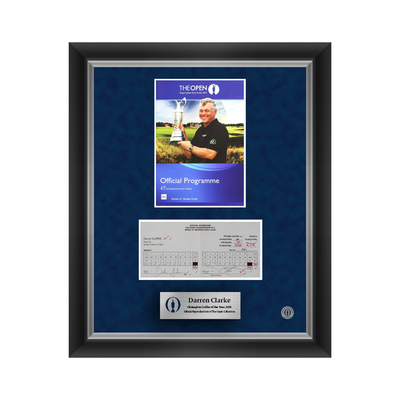 1 of 500 L/E Darren Clarke, The 140th Open Final Round Scorecard and 2012 Programme Cover Reproductions Framed