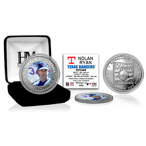 Photo of Nolan Ryan Baseball Hall of Fame Silver Color Coin