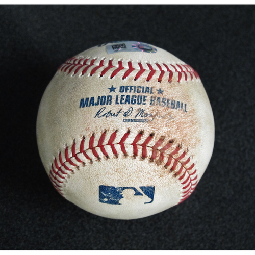 Photo of Game-Used Baseball Pitcher: Felix Hernandez, Batter: Ian Kinsler (Line out)/ Mike Trout (Singles) / Justin Upton (Pitched Ball) 5-6-2018