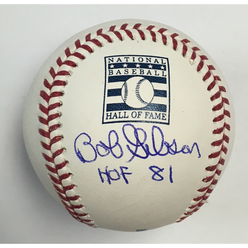 "Photo of Bob Gibson ""HOF 81"" Autographed HOF Logo Baseball"