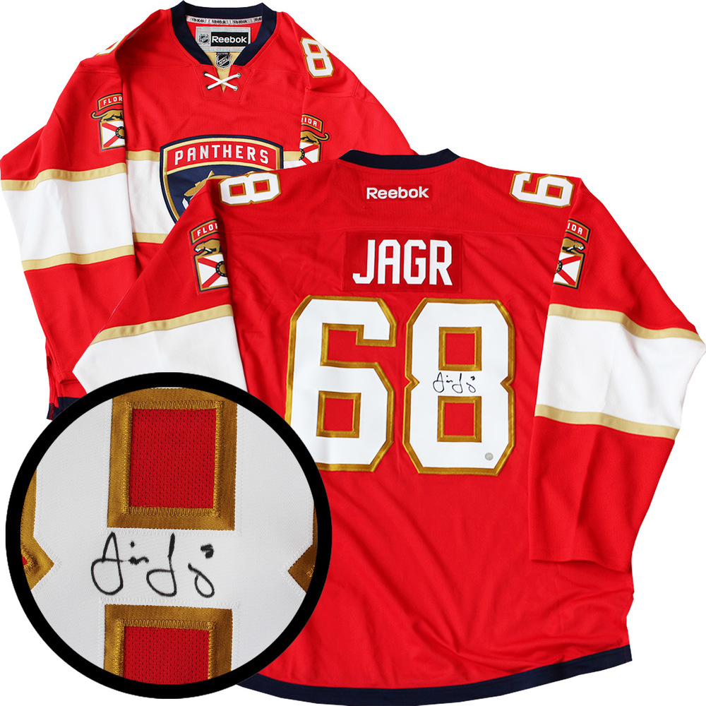 Jaromir Jagr Signed Jersey Panthers Replica Red 2016-2017 Reebok