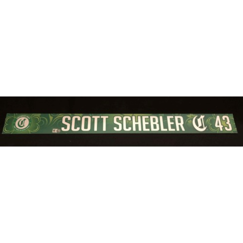 Photo of Scott Schebler -- Team-Issued Locker Name Plate -- 2019 St. Patrick's Day