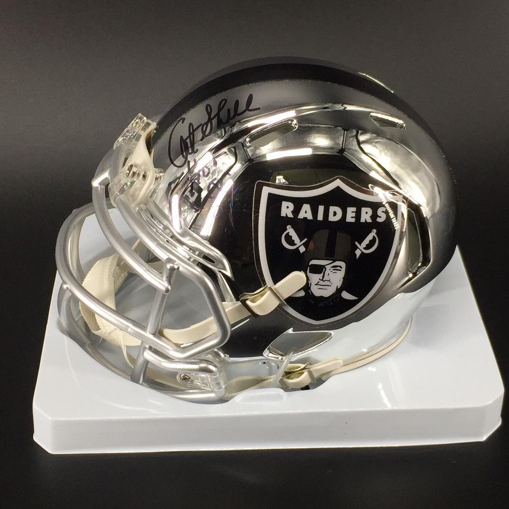 HOF - Raiders Art Shell Signed Chrome Mini Helmet