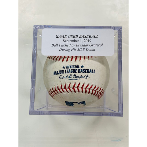 Photo of Game-Used Baseball: Ball Pitched by Cleveland Indians' Brusdar Graterol During his MLB Debut