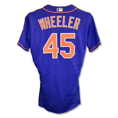 Photo of Zack Wheeler #45 - Game-Used Blue Alt. Home Jersey - 7 IP, 6 K's - Mets vs. Nationals - 5/21/19