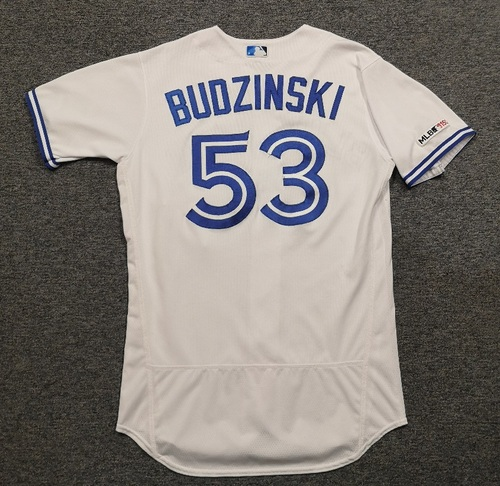 Photo of Authenticated Game Used Jersey: #53 Mark Budzinski (Mar 28, 19 vs DET: Opening Day). Size 44