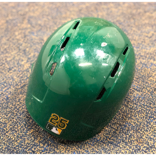 Game-Used Kelly Green Helmet: Stephen Piscotty (5/10/19)