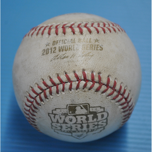Photo of Game-Used Baseball - 2012 World Series - San Francisco Giants vs. Detroit Tigers - Batter - Gregor Blanco, Pitcher - Max Scherzer, Top of 2, Fouled Back to Screen - Game 4 - 10/28/2012
