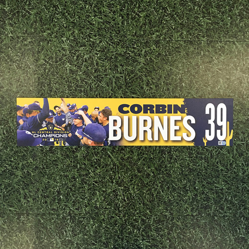 Photo of Corbin Burnes 2019 Team-Issued Spring Training Locker Nameplate