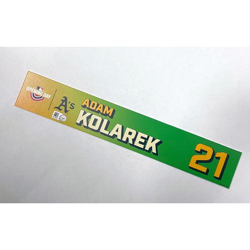 Photo of Game-Used 2021 Opening Day Locker Nameplate - Adam Kolarek