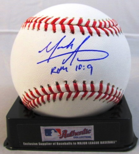 "Photo of Mark Appel Autographed Baseball ""ROM 10:9"""