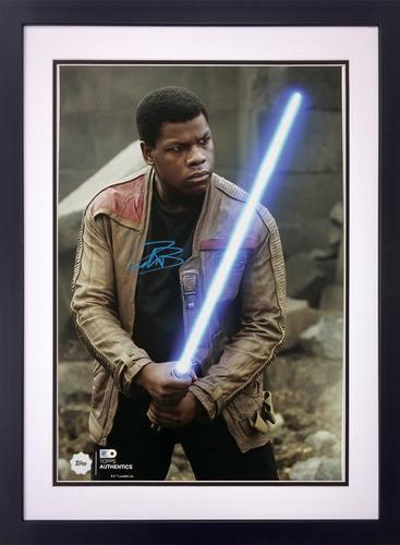 John Boyega as Finn at the Battle of Takodana Autographed in Blue Ink 16x20 Framed Photo