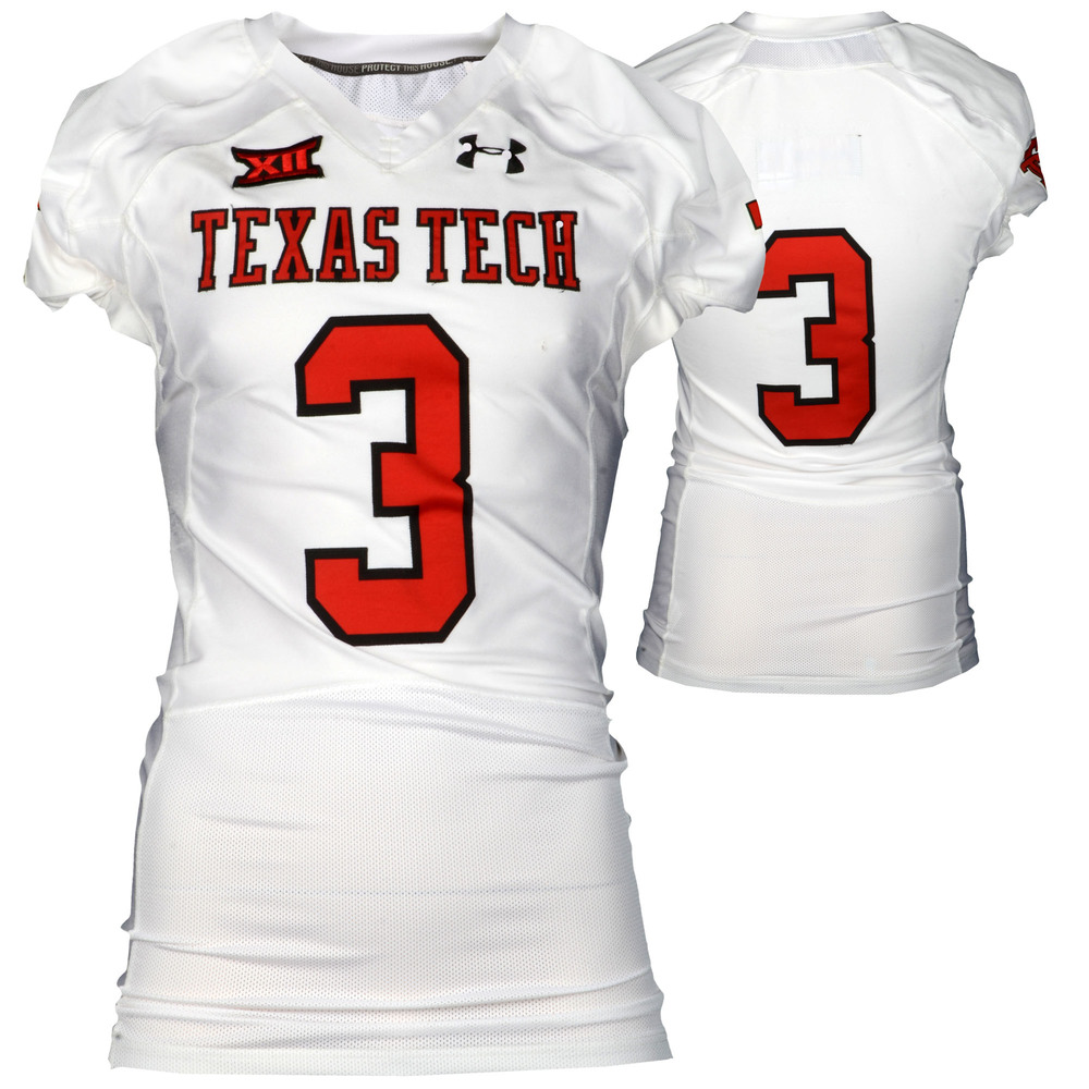 Texas Tech Red Raiders Game-Used White #3 Jersey Used During Victories Against Arkansas and Texas during the 2015 Season - Size 44