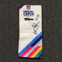 CRUCIAL CATCH - FALCONS ADRIAN CLAYBORN SIGNED AND GAME ISSUED TOWEL (OCTOBER 15, 2017)