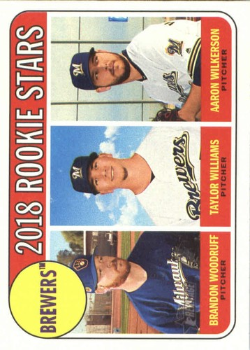Photo of 2018 Topps Heritage #394 Brandon Woodruff RC/Aaron Wilkerson RC/Taylor Williams RC