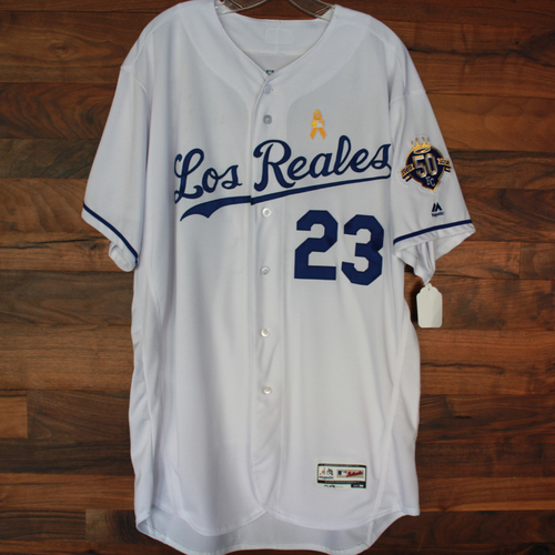 Photo of Game-Used Los Reales Jersey: Mike Jirschele (Size 50 - BAL @ KC - 9/1/18)