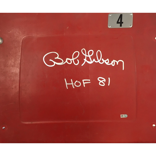 "Photo of Bob Gibson Autographed Seatback with ""HOF"" Inscription"