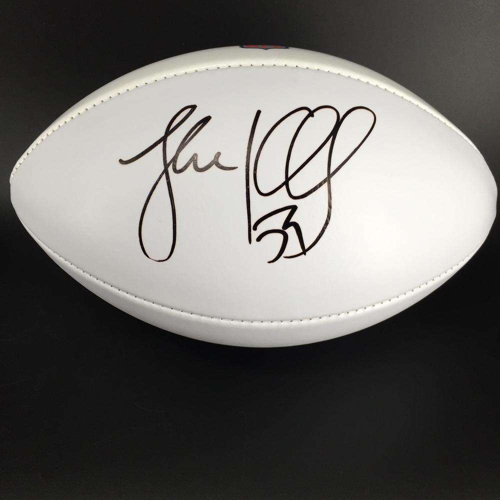 Panthers - Luke Kuechly signed NFL 100 logo white panel football