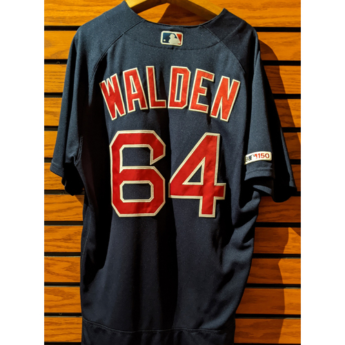 Photo of Marcus Walden #64 Game Used Navy Road Alternate Jersey