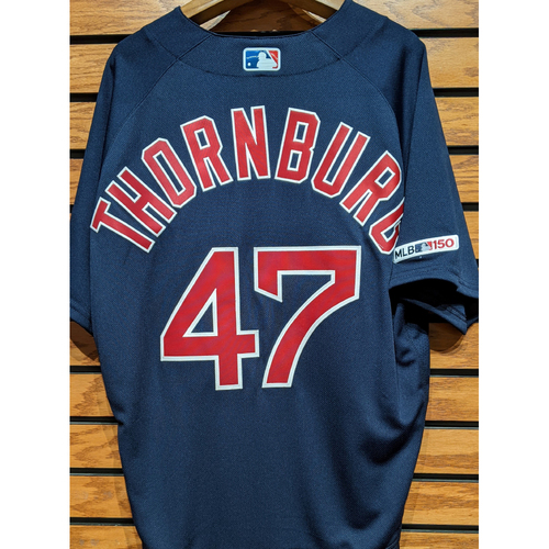 Photo of Tyler Thornburg #47 Team Issued Navy Road Alternate Jersey
