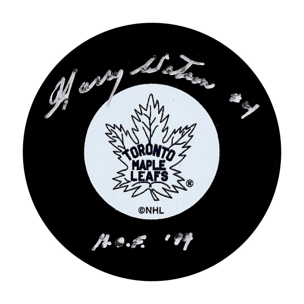 Harry Watson Autographed Toronto Maple Leafs Puck w/HOF 94 Inscription