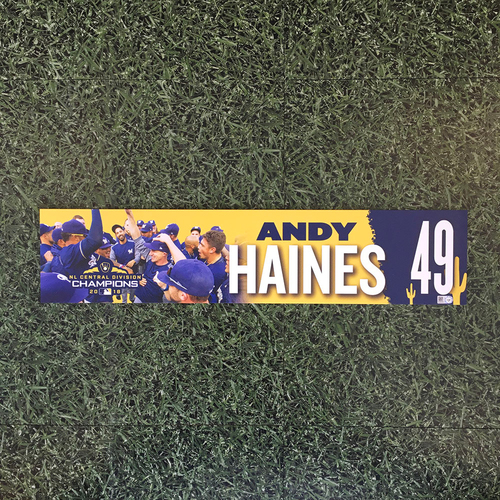 Photo of Andy Haines 2019 Team-Issued Spring Training Locker Nameplate