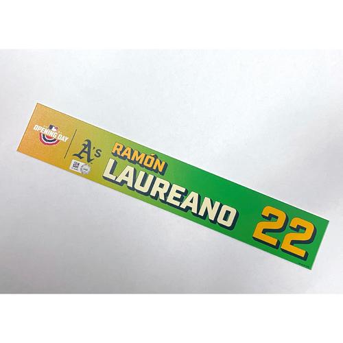 Photo of Game-Used 2021 Opening Day Locker Nameplate - Ramon Laureano