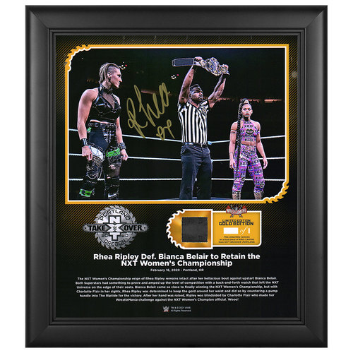 Photo of Rhea Ripley SIGNED NXT TakeOver: Portland WrestleMania Gold Edition Plaque (#1 of 1)