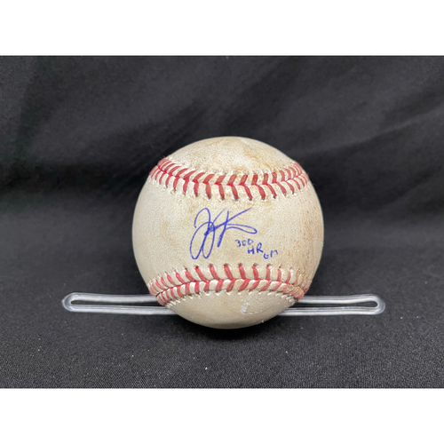 Photo of Joey Votto *Game-Used, Autographed & Inscribed* Baseball from 300th Career HR Game - Lucas Sims to Jason Heyward (Ball in Dirt) -- 04/30/2021 - CHC vs. CIN - Top 9