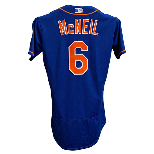 Photo of Jeff McNeil #6 - 1-2, 2B, RBI - Game Used Blue Home Jersey with Seaver Patch - Mets vs. Marlins - 8/31/21