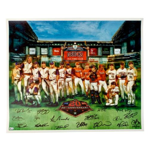 Photo of Arizona Diamondbacks 20th Anniversary Team Limited Edition Fine Art Autographed Canvas Print