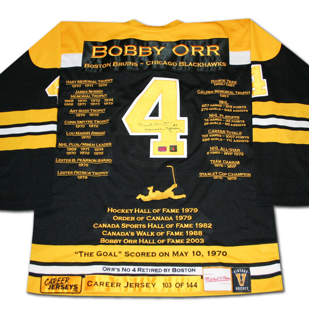 Bobby Orr Autographed Boston Bruins Career Limited-Edition Stats Jersey