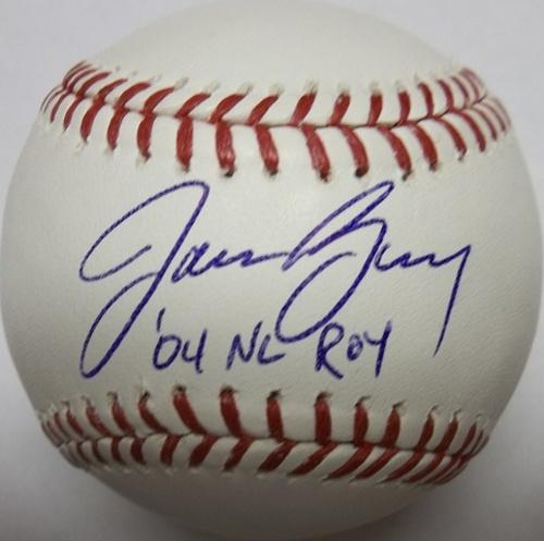 "Photo of Jason Bay ""04 NL ROY"" Autographed Baseball"