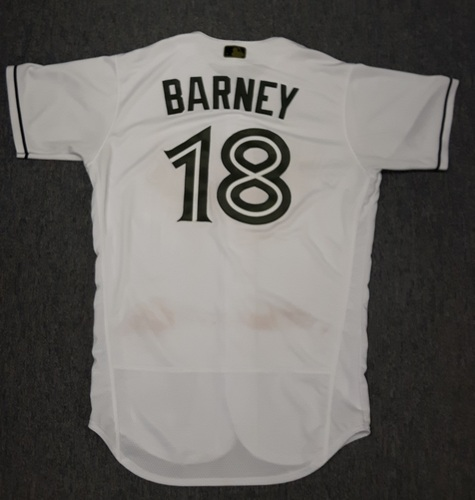 Photo of Authenticated Game Used 2017 Memorial Day Jersey - #18 Darwin Barney. Barney went 0-for-2. Size 44