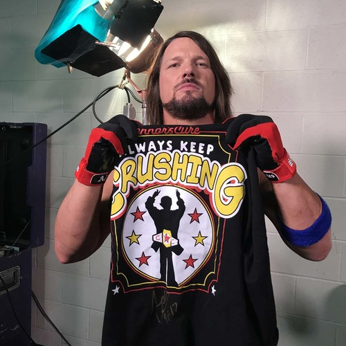 "Photo of AJ Styles WORN & SIGNED Connor's Cure ""Crush"" T-Shirt (Connors Cure - 09/05/17)"