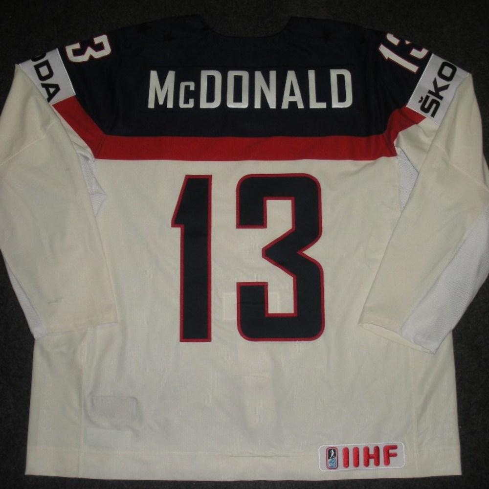 Colin McDonald - 2014 IIHF Mens World Championship - Team USA White Game-Worn Jersey - Worn on 5/9/14, 5/15/14 and 5/20/14