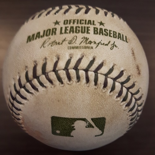Photo of Authenticated Game Used Memorial Day Baseball - Joey Votto groundout to Josh Donaldson against Marcus Stroman; Top 1 (May 29, 2017)