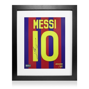 Photo of Lionel Messi Official Signed Barcelona Shirt Print In Black Wooden Frame: Lim...