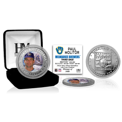 Photo of Paul Molitor Baseball Hall of Fame Silver Color Coin
