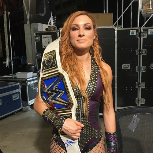 Photo of Becky Lynch SIGNED WWE SmackDown Women's Champion Replica Title (Hell in a Cell - 09/16/18)