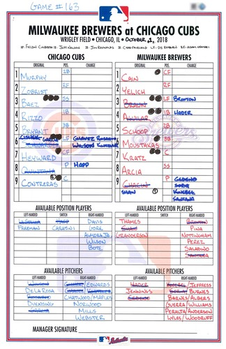 Photo of Game-Used Lineup Card -- N.L. Central Tie-Breaker Game -- Game 163 -- Quintana 5 IP, 1 ER, 4 K -- Rizzo 25th HR -- Brewers vs. Cubs -- 10/1/18