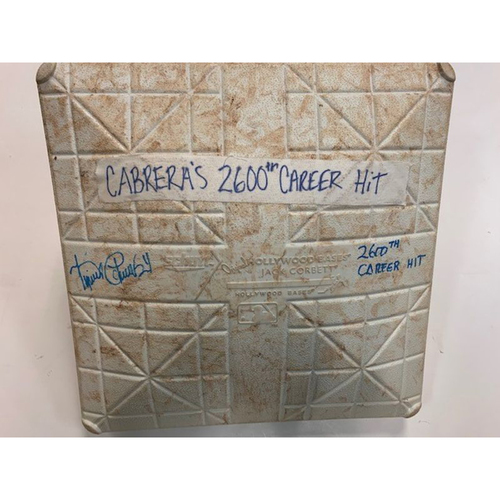 Autographed Game-Used Base: Miguel Cabrera 2,600th Career Hit