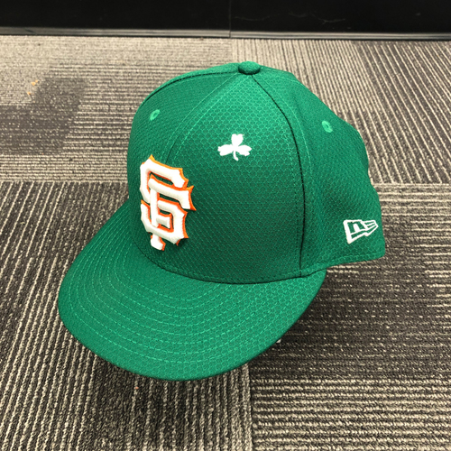 Photo of 2019 Game Used St. Patrick's Day Cap worn by #16 Aramis Garcia on 3/17 vs. Kansas City Royals - Size 7 1/2