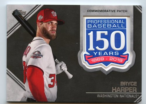 Photo of 2019 Topps 150th Anniversary Manufactured Patches #AMPBH Bryce Harper S2