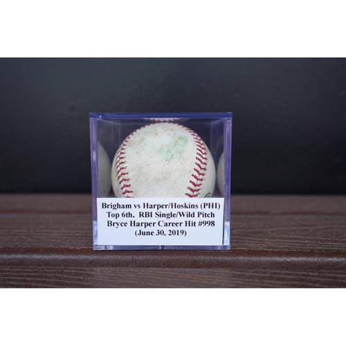 Photo of Game-Used Baseball: Brigham vs Harper/Hoskins (PHI), Top 6th,  RBI Single/Wild Pitch (June 30, 2019) *Bryce Harper Career Hit #998*