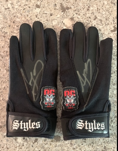 Photo of AJ Styles Worn and SIGNED OC Gloves