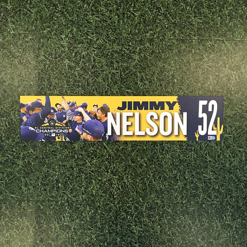 Photo of Jimmy Nelson 2019 Team-Issued Spring Training Locker Nameplate