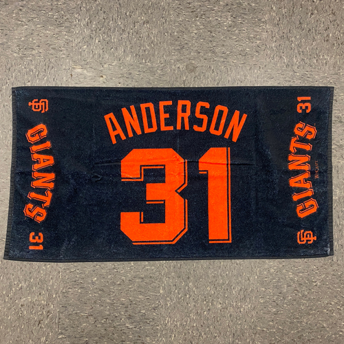 """Photo of 2020 Team Issued Player Towel - #31 Tyler Anderson - Towel Measurements - 40""""x20"""""""