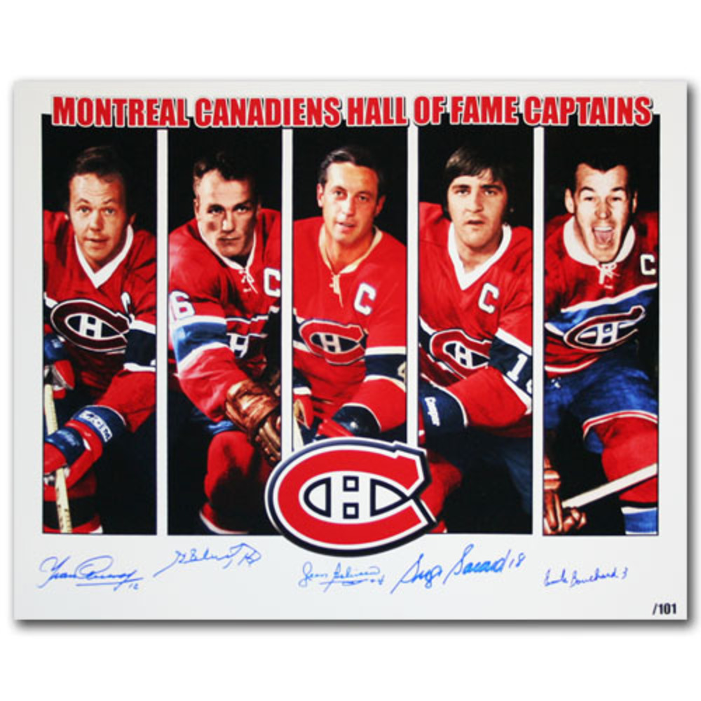 Beliveau, Bouchard, Cournoyer, H. Richard & S. Savard Autographed Montreal Canadiens Hall of Fame Captains Limited-Edition 16X20 Photo