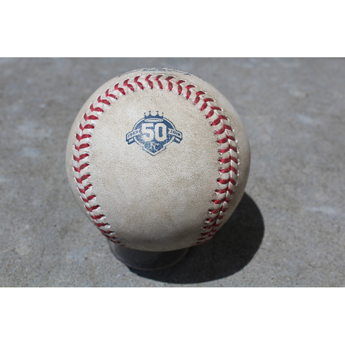 Photo of Game-Used Baseball: Mike Moustakas 171st Career Double and 399th and 400th Career RBIs (DET at KC - 5/6/18)